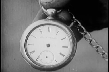 Close-up of hand holding pocket watch — Stock Video #26665389