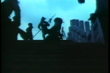 Asian warriors running up stairs — Vídeo de Stock