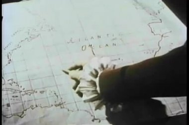Hand pointing pencil to location on 19th century map — Stock Video