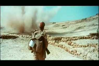Soldier pushing comrade into trench to save his life — Stock Video