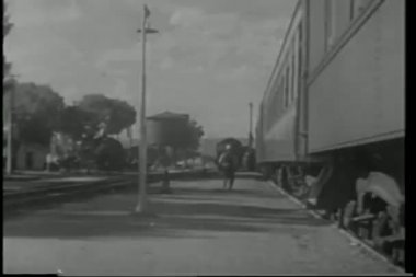 Pullman porter putting down foot stool as train pulls into station — Stock Video