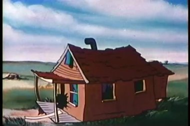Cartoon of cannons shooting out of wooden house — Stock Video
