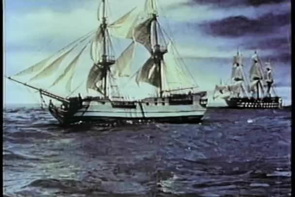 Siglo Xix dos naves en el mar — Vídeo de stock