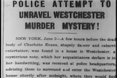 Murder mystery newspaper article — Stockvideo