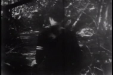 Young man walking in forest and stopping at abandoned structure — Wideo stockowe