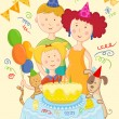 Happy family celebrate birthday card — Stock Vector