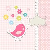Vintage doodle bird for frame vector — Stock Vector