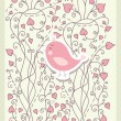 Card for valentine day with bird vector — Image vectorielle