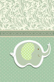 Vintage doodle elephant for frame wallpaper vector — Vetor de Stock