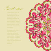 Beautiful pink arabesque lace pattern background vector — Stock Vector