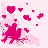 Card of romantic birds — Stock Vector