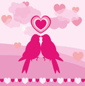 Love card of romantic birds for valentine day — Stock Vector