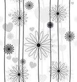 Beautiful flower seamless black and white — Stock Vector