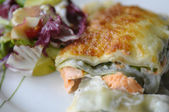 The lasagne with salmon — Stock Photo