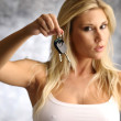 Blond woman with the key — Foto Stock