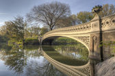 Bow bridge in spring Central Park — Stock fotografie