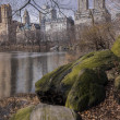 Central Park, New York City at lake — Stock Photo