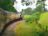 Steam Train Powers through the countryside — Stock Photo