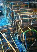 Crab Baskets on Harbour Edge — Stock Photo