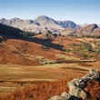 Langdale Pikes and countryside — Stock Photo