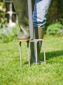 Aerating lawn — Stock Photo