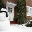 雪人和房子 — 图库照片