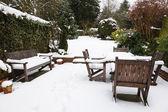Winter patio and garden — Stock Photo