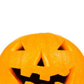 Halloween pumpkin on white with copyspace — Stock Photo