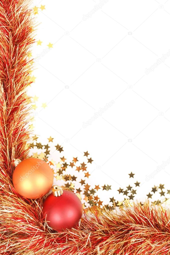 Christmas border with red and gold Christmas decorations, tinsel and confetti and lots of space for text  Stock Photo #13276134