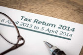 Tax return 2014 — Stock Photo