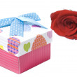 Gift box and red rose — Stock Photo