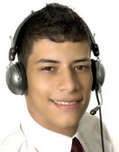 Man in a callcenter — Stock Photo