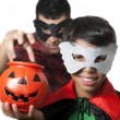 Man and kid in halloween — Stock Photo