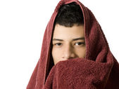 Man with a towel over his head — Stock Photo