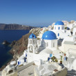 santorini greece oia village blue church dome steps — Stock Photo