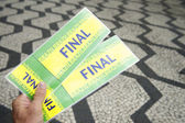 Tickets to football soccer final in Sao Paulo Brazil — Stock Photo