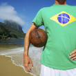 Brazilian Soccer Football Player Stands on Rio Beach — Stock Photo