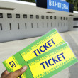 Soccer Fan Holds Two World Cup 2014 Brazil Tickets at the Stadium — Stock Photo
