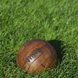 Vintage Brown Football Soccer Ball Green Grass Field — Stock Photo