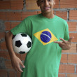 Smiling Brazilian Teen Stands with Football Soccer Ball — Stock Photo