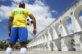 Brazilian Soccer Football Player Wears 2014 Shirt Rio — Stock Photo