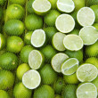 Fresh Limes Hang in Sacks at Farmers Market Rio de Janeiro — Stock Photo