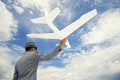Entrepreneur Businessman Sends White Airplane Into Sky — Stock Photo