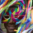 Colorful Rio Carnival Smiling Brazilian Man in Mask — Stock Photo