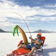 American Fisherman Goes on Cheap Fishing Vacation Holiday — Stock Photo