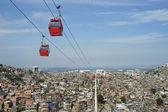 Rio de Janeiro Favela with Red Cable Cars — Stock Photo