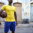Brazilian Football Player Soccer Holding Ball Village Street — Stock Photo