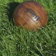 Vintage Brown Football Soccer Ball Green Grass Field — Stock fotografie
