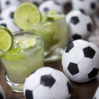 Stock Photo: Two Fresh Lime Caipirinhas BraziliSoccer