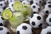 Two Fresh Lime Caipirinhas Brazilian Soccer — Stockfoto